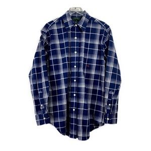 Ralph Lauren Blue Plaid Button Shirt Sz 6